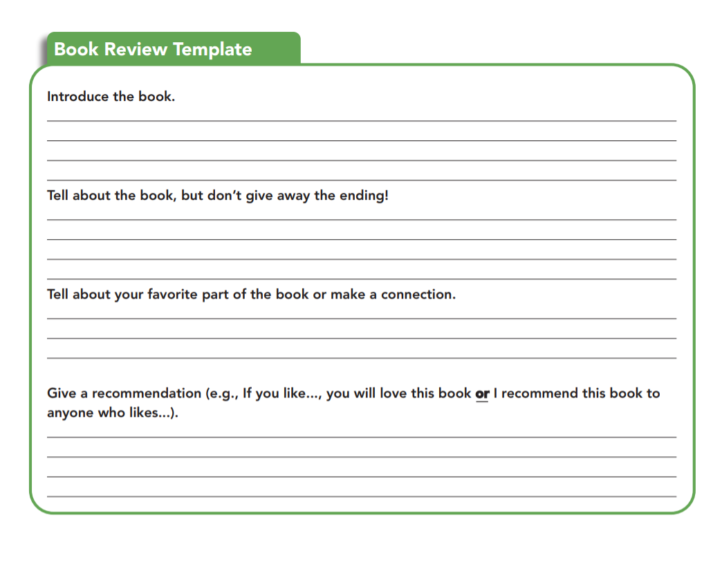 writing a book review template